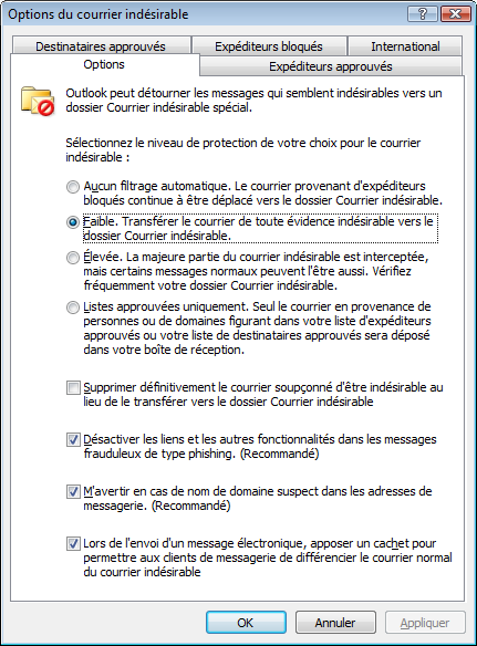 comment arreter les spams outlook